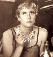 Edited portrait of Joan Wyndham with cigarette